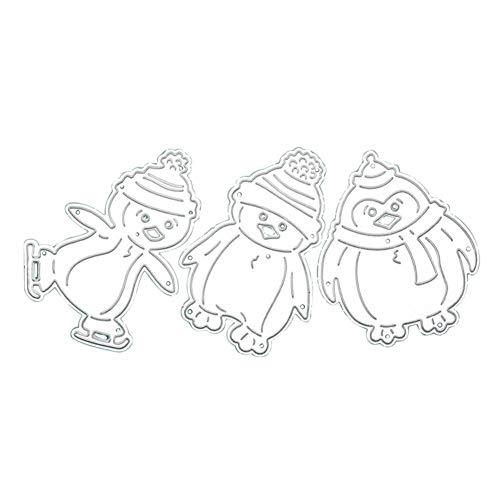 skgardeniamy 3 Teile/Satz Niedlichen Cartoon Pinguin Stanzformen Schablone DIY Werkzeug Scrapbooking Fotoalbum Papier Karte Dekorative Präge Handwerk Silver