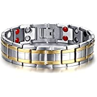 Vnox Uomo Titanio Doppio Pure Gold Line 4 in 1 terapia di guarigione Bio Wristband magnetico di energia