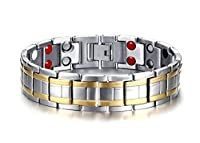 Vnox Mens Pure Titanium Double Gold Line 4 in 1 Theraphy Healing Bio Magnetic Energy Wristband Bracelet