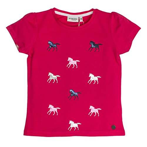 SALT AND PEPPER Mädchen T-Shirt Horses Uni Allover, Rosa (Raspberry Melange 871), 104 (Herstellergröße: 104/110) (Rosa Pferd Shirt)