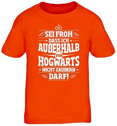 ShirtStreet Fanartikel Fan Kult Film Kinder T-Shirt Rundhals Mädchen Jungen Außerhalb von Hogwarts, Größe: 122/128,orange