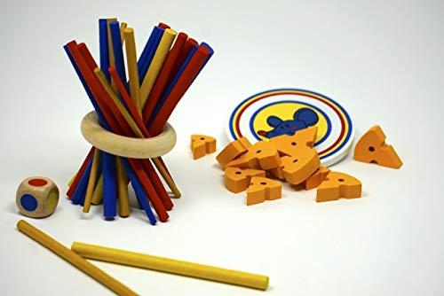 Minis kreativ ZITTER Nicht !!! & Mäusespiel Käsebrett 2 x Geduldspiele und Knobelspiele für Kinder – Geschicklichkeitsspiel aus Holz – Kinderspiele ab 3 Jahren
