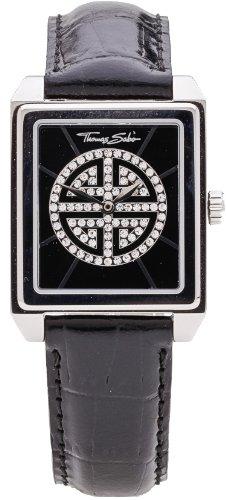 Thomas Sabo wa0059–203–203–27,5–Orologio per Donna, Cinturino in pelle colore nero