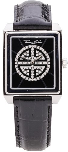 Thomas Sabo WA0059–203–203–27,5–Watch For Women, Leather Strap Black