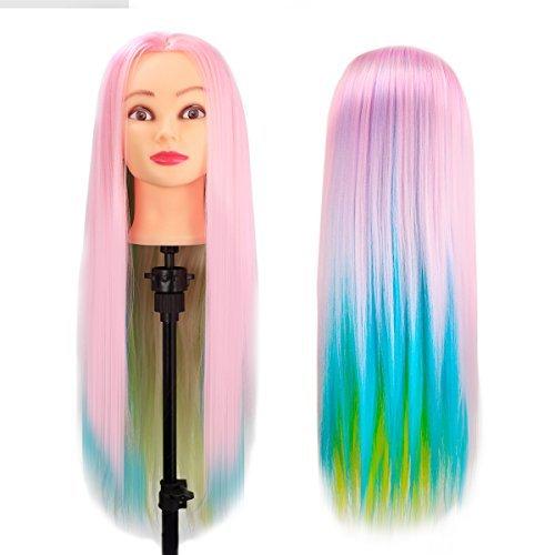 Tête d'exercice Tête à coiffer, CoastaCloud Mannequin Head Cosmétologie Professionnelle Coiffure Equipement 60-66 cm 100% Synthétiques