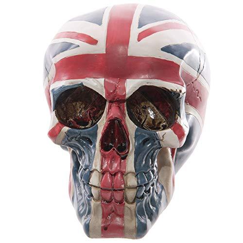 ZXDH Statue Patriot Zierschädel Gothic Fantasy UK Britische Königliche Flagge Union Jack Schädel Kopf Skeleton Statue Figur Halloween Dekorationen