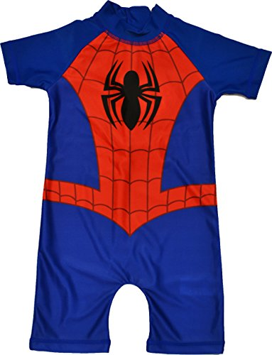 Boys-Spiderman-All-in-One-Swimuit-Sunsafe-Sunsuit-Ages-18-Months-to-5-Years
