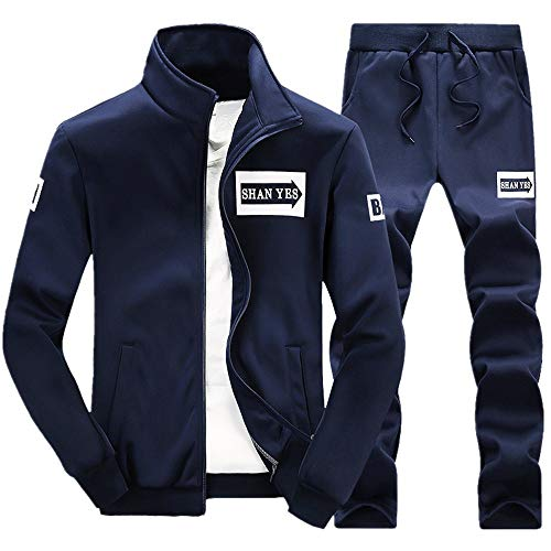 Yunyoud tute sportive da uomo - completi casual autunno e inverno felpe addensate tops sets sportswear abbigliamento sportivo caldo inverno abbigliamento sportivo slim (2xl, marina militare)