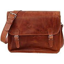 PAUL MARIUS LA SACOCHE (L) - Maletín en bandolera, cartera para la escuela, bolsa para ir de compras, maletín para ordenador portátil de estilo vintage (cuero, tamaño grande), color cuero