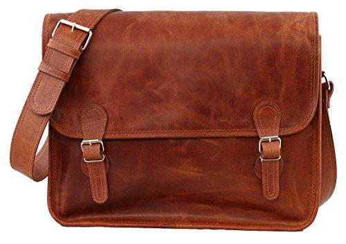 LA SACOCHE (L) cuir couleur naturel Besace bandoulière...