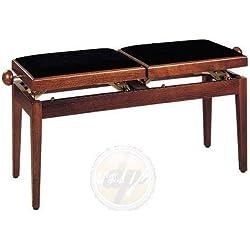 Stagg PB245 WNM romanza Banqueta para Piano doble - Madera de nogal y marrón con en la parte superior de terciopelo