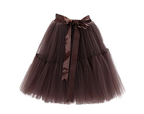 Honeystore Damen's Tüllrock Damen Vintage Tutu Rock Tanzrock Unterrock 5 Schichten Petticoat Prinzessin Rock Braun One Size (Rosa Crinkle-rock)