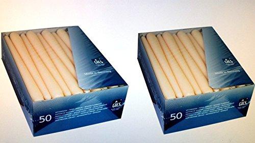 2 x 50 Stück Spitzkerzen, champagner, 245 x 24,5 mm
