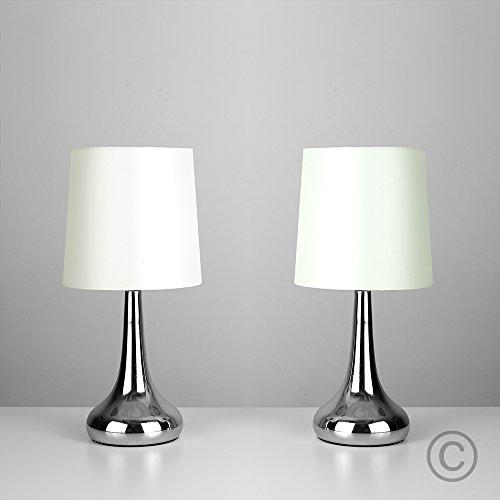 MiniSun–Set-de-2-lmparas-modernas-de-mesa-tctiles-con-forma-de-gota-cromadas-y-pantallas-de-tela-color-crema