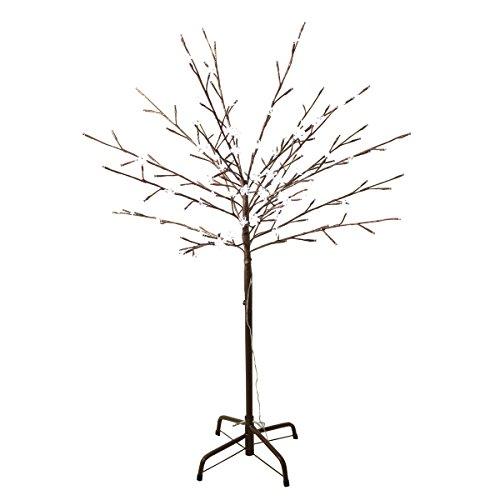Krismase Weihnachtsbaum, 120 cm hoch, mit kleinem Eisenständer, mit 152 LED-Lampen in Kirschblätenform, Sakura, Sakura, für Heim und Garten, Weihnachtsdeko, blätenweiß