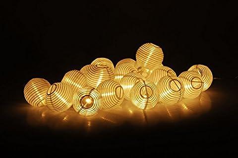 Party Lichterkette mit 20 LED Lampions in weiß - Innen & Außen - 20 LED in warmweiß - Lieferung inkl.