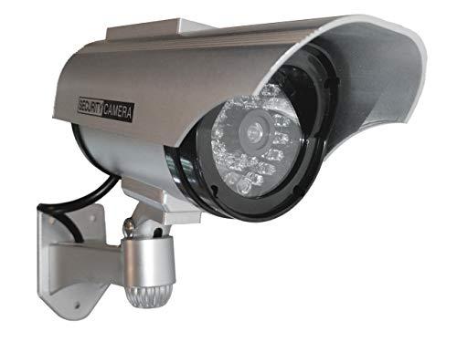 2X Überwachungskameras Solar Dummy Outdoor Kameras Dummy Kamera Attrappe mit Objektiv und Blinkled Videoüberwachung Warensicherung - Dummy Videoüberwachung