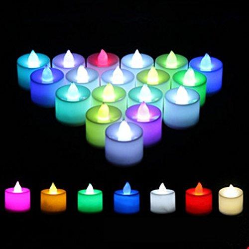 24minivelas LED, realistas, de plástico, sin llama, para decoración de fiestas o bodas, con pilas
