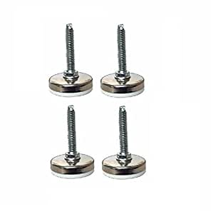 "Set of 4 White Maxim Leveling Glides w/ 5/16"" x 1-1/2"" Threaded Stem 1-3/4"" Base by Acor"