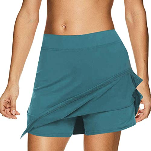Riou Rock Damen mit Hose Sommer Kurz Active Athletic Skort Leichter Tennisrock mit Innenhose Hosenrock für Damen Sportrock (M, Hellblau) -