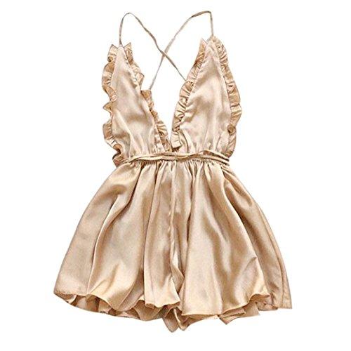 Dorame_donne intimo lingerie sexy donna, dorme abito di pizzo corto floreale baby doll elegante biancheria intima (asia s, oro)