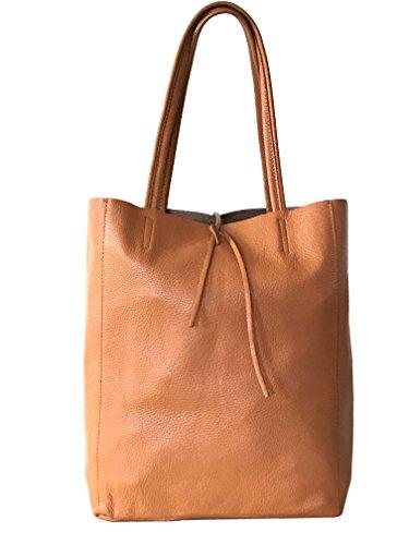 RW Fashion, Damen Shopper Leder soft Made in Italy Schultertasche Henkeltasche im angesagten Metallic-Look, SH30441, ca 37 x 40 x 13 cm (Beige (Camel))