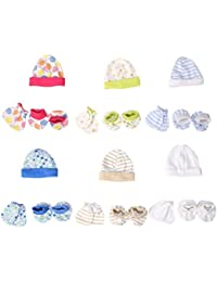 Baybee New Born Baby Mittens Booties Premium Capset (Pack of 6) - Assorted Color