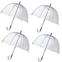 Unibos X4 Large Clear Dome See Through Umbrella Handle Transparent Walking Brolly New