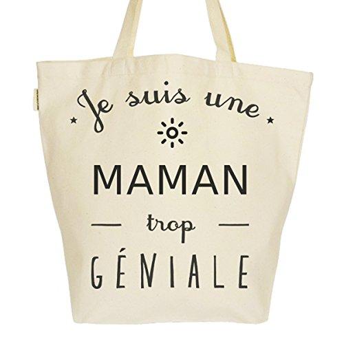 Grand Sac Cabas Fourre-tout Imprimé Toile Bio 37x45x20cm Tote Bag XL - Une maman trop géniale