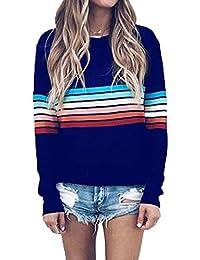 Yutila Damen Damen Regenbogen Pullover Sweatshirt Rainbow Casual Basic 91a1e59eae