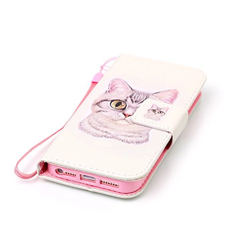 iPhone 5S Brieftasche,iPhone SE Flip Case Cover, Aeeque® Glitzer Luxus [Schwarz Gold Spleiß Stil] Kartenfach Standfunktion Handytasche für iPhone 5/5S/SE mit Abnehmbar Handy Lanyard und Weich Silikon  Bild Cute Tier Katze