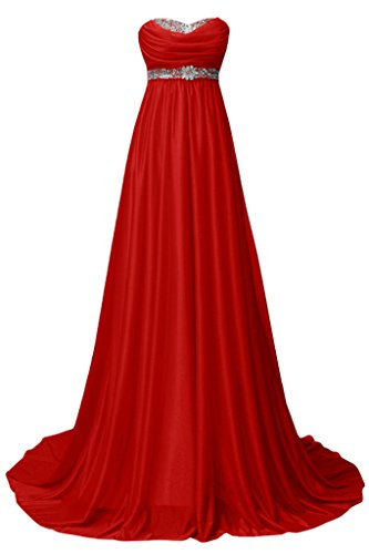 Sunvary A-Line Empire Chiffon abito da sera elegante Maxi sera Red