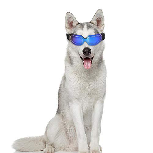 VICTORIE Hunde Sonnenbrille UV Schutzbrillen Wind wasserdicht Sonnenschutz Augenschutz verstellbar für Mittel Hunde Hündchen Welpen Katze Haustier Blau