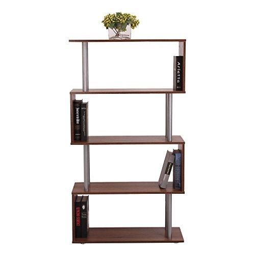 HOMCOM Wooden Wood S Shape Storage Unit Chest Bookshelf Bookcase Cupboard Cabinet Home Office Furniture New (Walnut)
