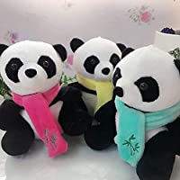 Momangel Cartoon Scarf Wearing Panda Plush Stuffed Pillow Cussion Toy Cushion Pillow Case for Living Room Sofa Bedroom Car Cafe Decor