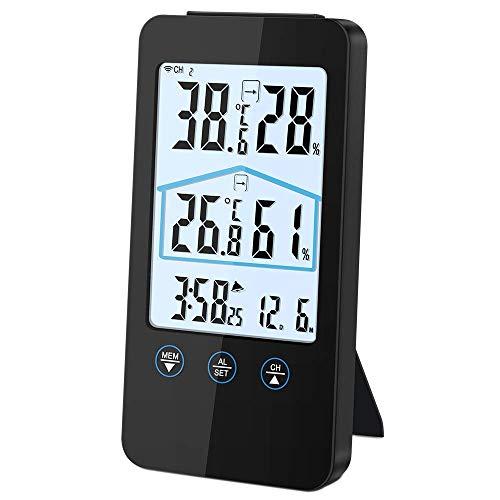 Vegena Wetterstation Funk mit Außensensor, Innen Außen Digital Thermometer Hygrometer Wettervorhersage, Hintergrundbeleuchtung Wecker Schlummerfunktion Uhrzeit Anzeige für Zuhause Büro Schlafzimmer