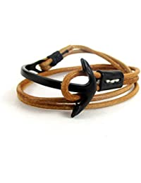 Streetsoul Bracelet Steel Plated Half Cuff Beige Wraparound Rust Leather Band Trendy Gift For Men.