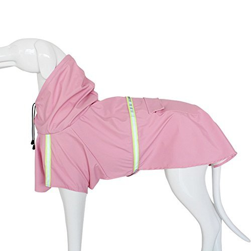 Pet Hunde Regenjacke Regenmantel Verstellbar Leicht Poncho mit Reflektierende Streifen für Kleine Medium Große Hunderassen, Puppy Wasserdicht Kleidung, Hund Regen Gear Regnerische Tage, L, Rose -