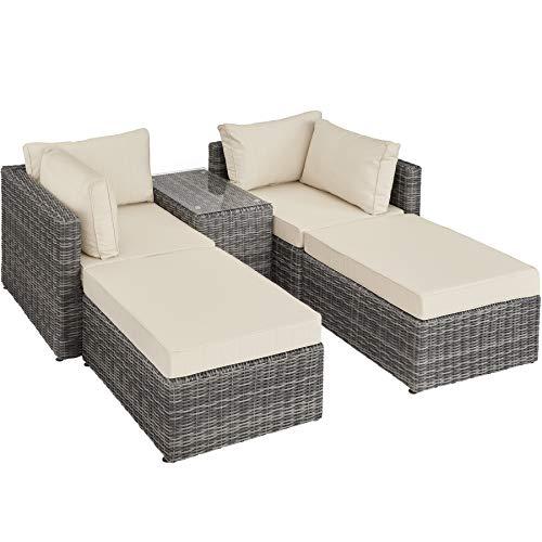 TecTake 800694 Aluminium Polyrattan Multifunktions Loungegruppe Gartensofa mit Tisch, für Garten oder Terrasse, vielseitig kombinierbar, inkl. Polster - Diverse Farben (Grau | Nr. 403169) -
