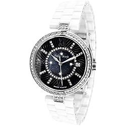 Stella Maris Montre Femme - Analogue Quartz - Bracelet Premium Céramique - Cadran Nacre - Diamants et Éléments Swarovski - STM15SM1