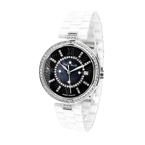 Stella Maris Damen Armbanduhr - Analog Quarz - Premium Keramik Armband - Perlmutt Zifferblatt - Diamanten und Swarovski Elemente - STM15SM1