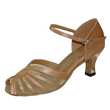 Scarpe da ballo-Personalizzabile-Da donna-Balli latino-americani / Jazz / Salsa / Scarpe da swing-Tacco su misura-Finta pelle-Nero / Altro almond