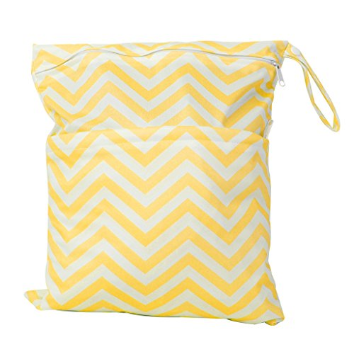 2-Zip Baby Cloth Diaper Bag Wave Pattern Yellow and White Test