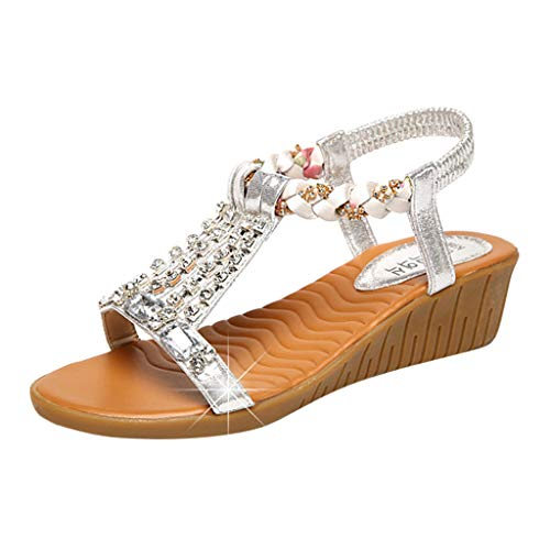 MakefortuneDamen Damen Mitte Keilabsatz Diamante T-Bar Perlen elastische Slingback Sandalen Größe 5-zoll-slingback Pump