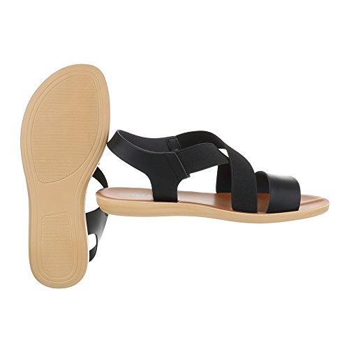 Riemchensandalen Damenschuhe Knöchelriemchen Leichte Ital-Design Sandalen / Sandaletten Schwarz