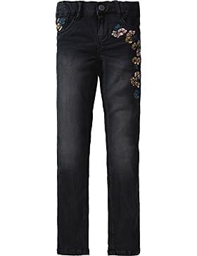 name it Kids Mädchen Jeans, Denim Pant Becky mit Blumen-Stickerei in black denim
