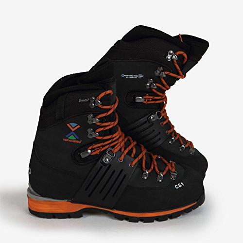 TEFANESO Bergschuhe Hochtourenstiefel Bergsteigen Herrenschuhe - Klettern, wandern, Alpine Schnee Winter Outdoor Wasserdicht Bequem - Swiss Bergschuh (42.5, Orange & Schwarz)