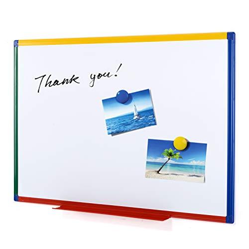 Swansea Whiteboard Magnetisch mit Bunte Rahmen und Stahloberfläche für Wohnung, Büro, Küche und Schule, Doppelseitig Magnettafel Kinder, 90X60cm