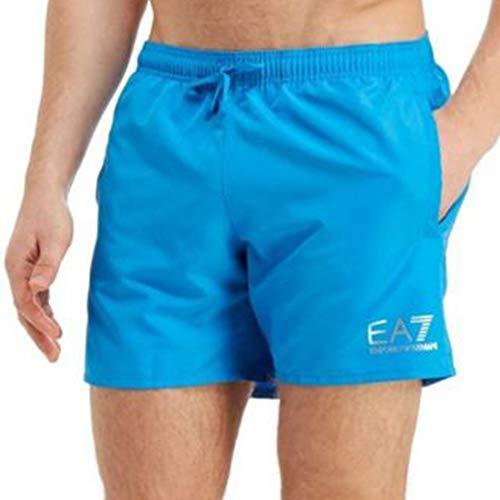 Versace Ea7 Herren Swim Shorts, Türkis Blau Mit Silber Medium