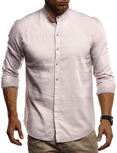 Leif Nelson Herren Leinenhemd Hemd Leinen Kurzarm T-Shirt Oversize Stehkragen Männer Freizeithemd Sommerhemd Regular Fit Jungen Basic Shirt Kurzarmshirt Freizeit Sweater LN3860 Beige XX-Large -
